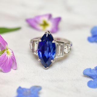 Tiffany & Co. Late-Art Deco 6.60 Carat Marquise No-Heat Ceylon Sapphire and Diamond Ring - AGL