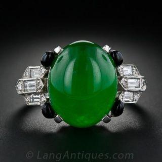 Imperial Jadeite and Diamond Art Deco-Style Ring