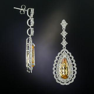 Imperial Topaz Diamond Drop Earrings - 1