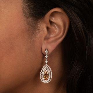 Imperial Topaz Diamond Drop Earrings