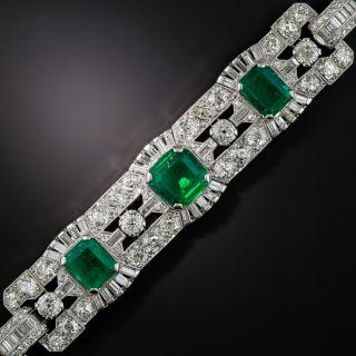 Impressive Art Deco Emerald and Diamond Bracelet: GIA - No Clarity Enhancement - 2