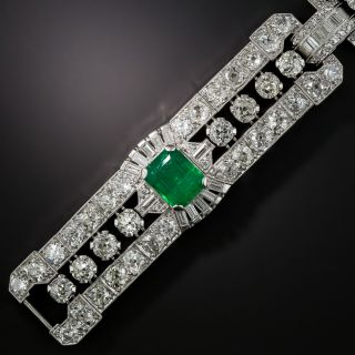 Impressive Art Deco Emerald and Diamond Bracelet: GIA - No Clarity Enhancement