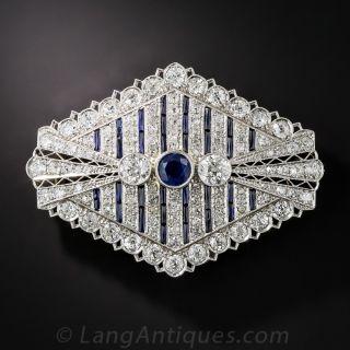 Art Deco Sapphire and Diamond Brooch - 1