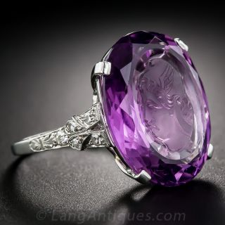 Intaglio Amethyst, Platinum and Diamond Ring