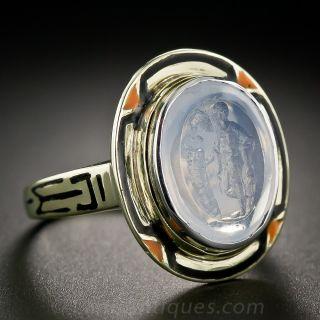 Intaglio Moonstone Ring