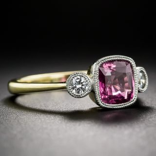 Intense Pink Sapphire and Diamond Ring
