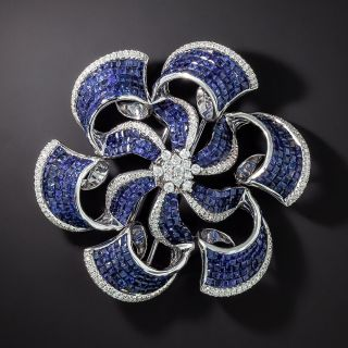 Invisible Set Sapphire and Diamond Pinwheel Brooch/Pendant - 0