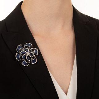Invisible Set Sapphire and Diamond Pinwheel Brooch/Pendant