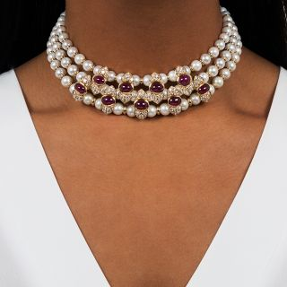 Italian Cabochon Ruby, Diamond and Pearl Collar Necklace