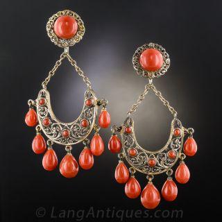 Italian Coral Chandelier Earrings