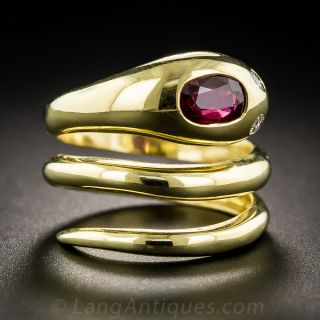 Italian Ruby Snake Ring by Leo Pizzo