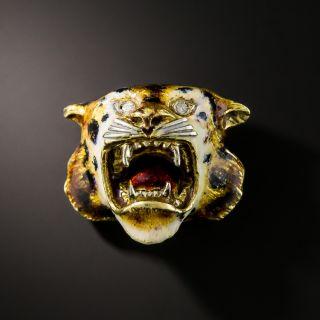 Italian Tiger Head Brooch - 2