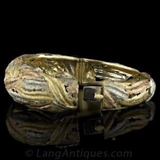 Italian Tri Color Leaf Motif Gold Bangle