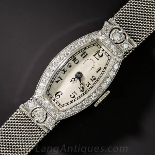 J.E. Caldwell & Co. Platinum and Diamond Art Deco Watch