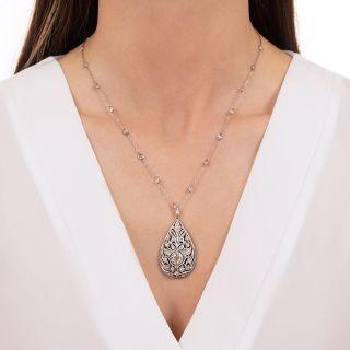 J.E. Caldwell Edwardian Diamond and Onyx Pendant Necklace
