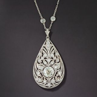 Edwardian Platinum Diamond Onyx Pendant Necklace - *J.E. Caldwell - 1