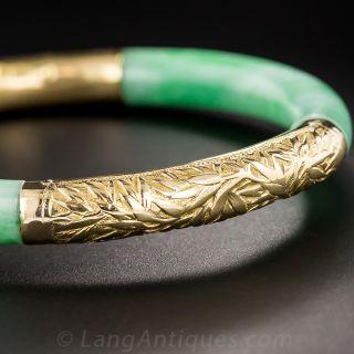 Jade and 18K Gold Bangle Bracelet