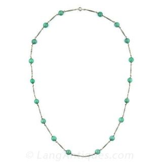Jade Bead  and Champleve Enamel Gold Necklace