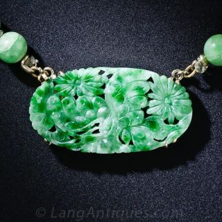 Jade Bead Necklace with Carved Centerpiece