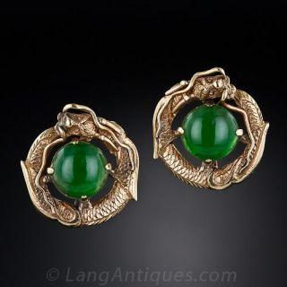 Jadeite Dragon Earrings