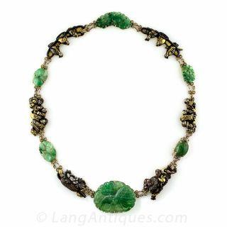 Japanese Shakudo Jadeite Necklace