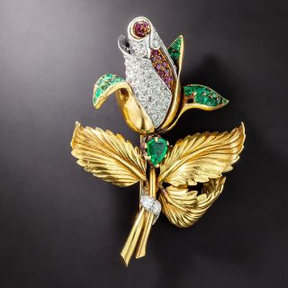 Jeweled Rose Pin - 1