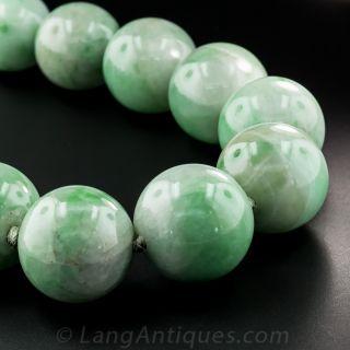 Jumbo Natural Burmese Jade Bead Necklace