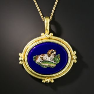 King Charles Spaniel Micro Mosaic Necklace Signed Elizabeth Locke  - 1
