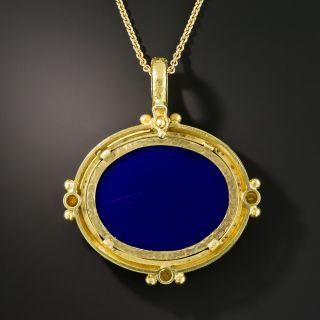 King Charles Spaniel Micro Mosaic Necklace Signed Elizabeth Locke