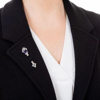 Lacloche Frères Art Deco Synthetic Sapphire Diamond Jabot Pin