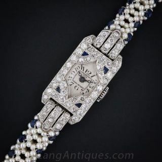 Ladies Art Deco Diamond and Sapphire Cylis Watch