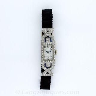 Ladies Art Deco Diamond and Sapphire Ribbon Watch