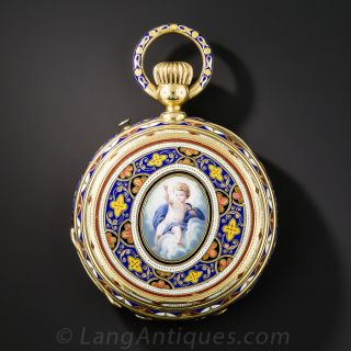 Lady's Cherubic Enamel Pendant Watch