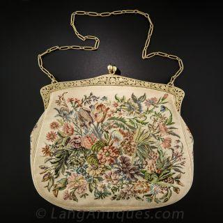Ladies Jeweled Tapestry Handbag