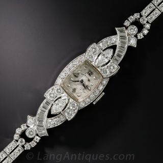 Ladies Platinum and Diamond Hamilton Watch