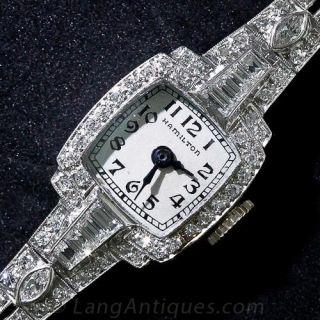 Ladies Vintage Hamilton Platinum and Diamond Watch