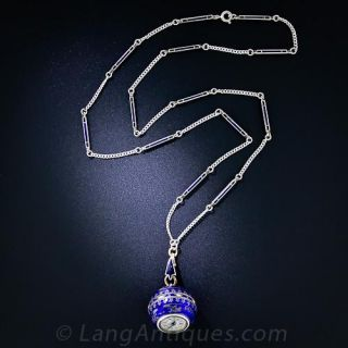 Lady's Silver and Cobalt Enamel Pendant Watch and Chain