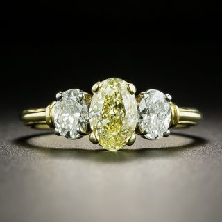 Lang Collection 1.03 Carat Oval Fancy Light Yellow Three-Stone Diamond Ring - GIA - 1