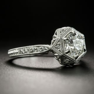 Lang Collection 1.06 Carat Diamond Art Deco Style Hexagonal Engagement Ring - GIA I VVS2