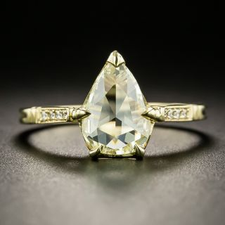 Lang Collection 1.71 Carat Rose-Cut Pear-Shaped Diamond Engagement Ring - GIA W-X SI2  - 1