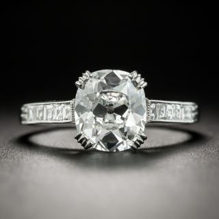 Lang Collection 2.16 Carat Antique Cushion Diamond Platinum Ring - GIA E SI2 - 1
