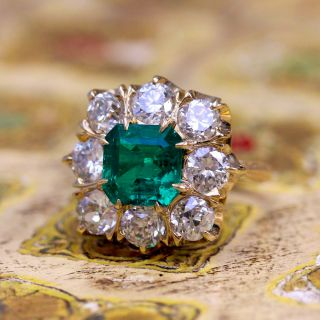 Lang Collection 2.64 Carat Emerald and Diamond Ring - GIA F1 - 5