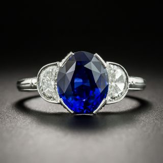 Lang Collection 2.83 Carat Sapphire Diamond Platinum Ring - 1