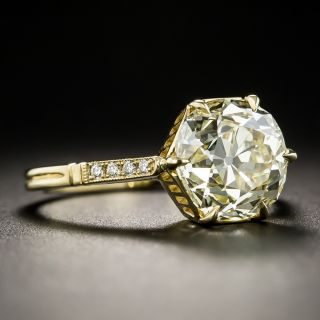 Lang Collection 3.39 Carat Old Mine-Cut Diamond Ring