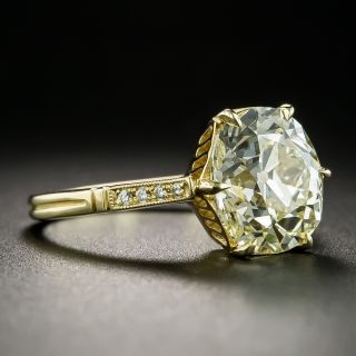 Lang Collection 3.78 Carat Old Mine-Cut Diamond Solitaire Ring--GIA O-P VVS2