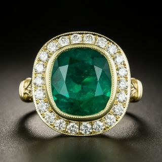 Lang Collection 4.51 Carat Emerald and Diamond Ring - GIA - 2