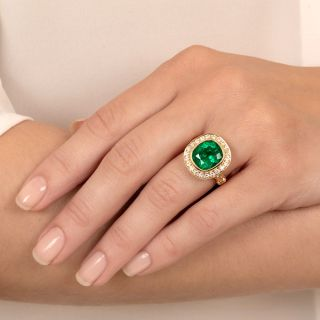 Lang Collection 4.51 Carat Emerald and Diamond Ring - GIA