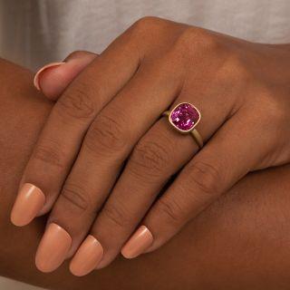 Lang Collection 6.29 Carat Cushion-Cut No-Heat Pink Sapphire Ring