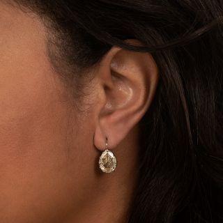 Lang Collection 6.99 Carat Vintage Pear Shape Diamond Earrings
