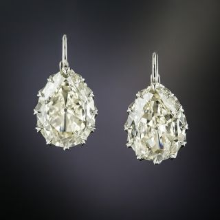 Lang Collection 3.62 and 3.37 Carat Pear Cut Diamond Earrings - 1
